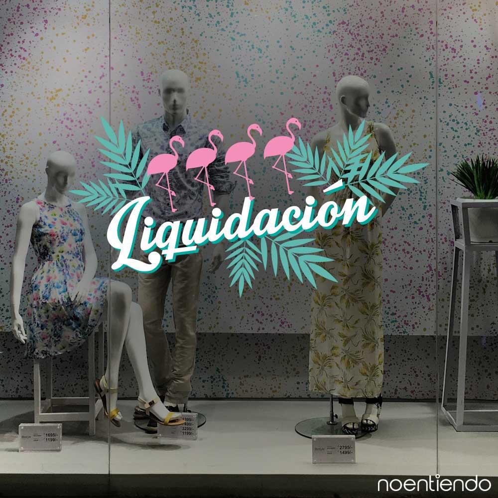 Vinilo de liquidación con flamencos para vidriera